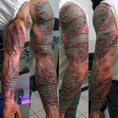 Badass Muscular 3D Arm Tattoo Ideas For Men
