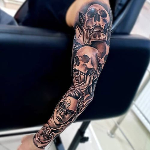 Badass Skull Arm Tattoo Ideas For Men