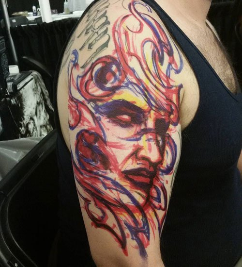Colorful Upper Arm Tattoos For Guys
