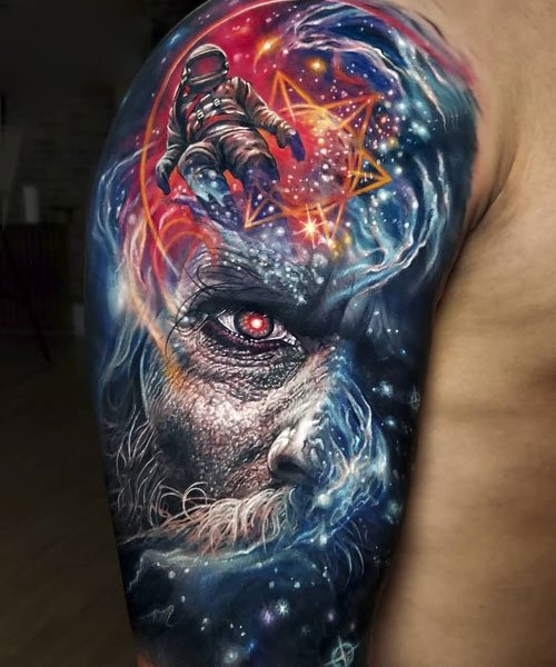 Creative Colorful Arm Tattoos For Men