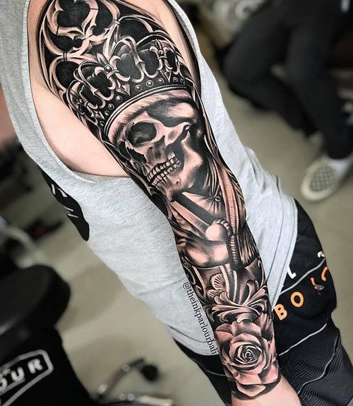 Skull Crown King Arm Tattoo Designs