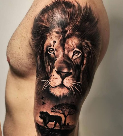 Upper Arm Lion Tattoo Ideas For Guys