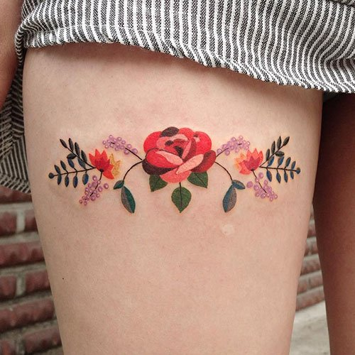 Amazing Rose Flower Thigh Tattoos