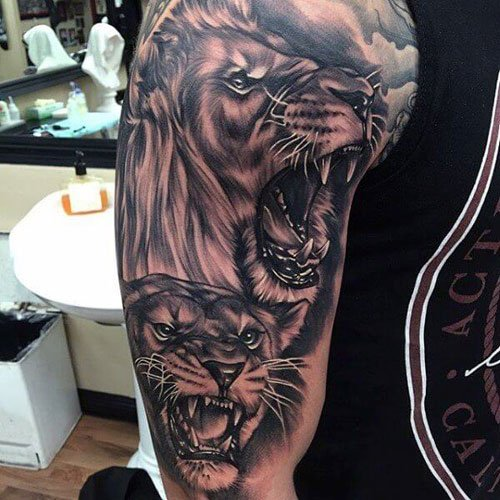 Awesome Lion Half Sleeve Tattoo