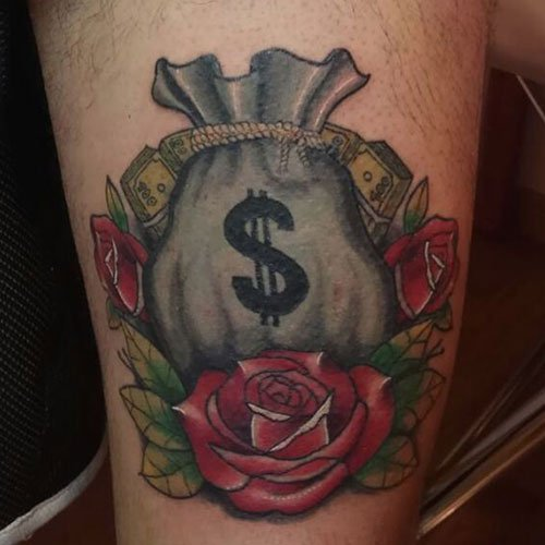 Awesome Money Bag Tattoo Designs For Men