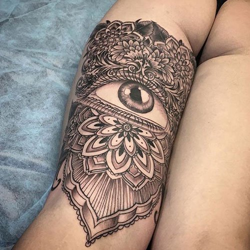 Back of Thigh Tattoo Designs For Women