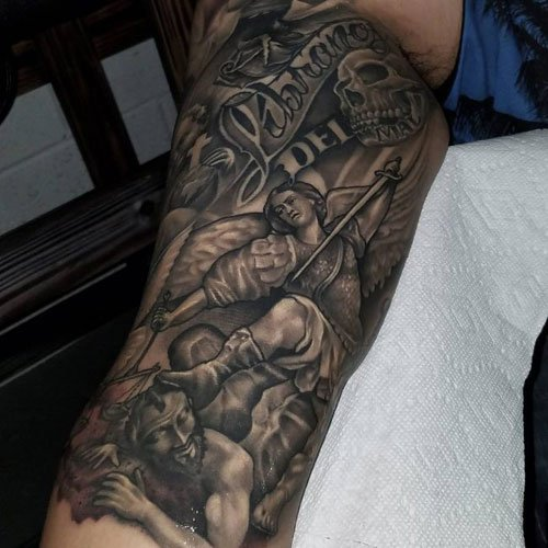Badass Full Inner Bicep Tattoo Designs For Guys