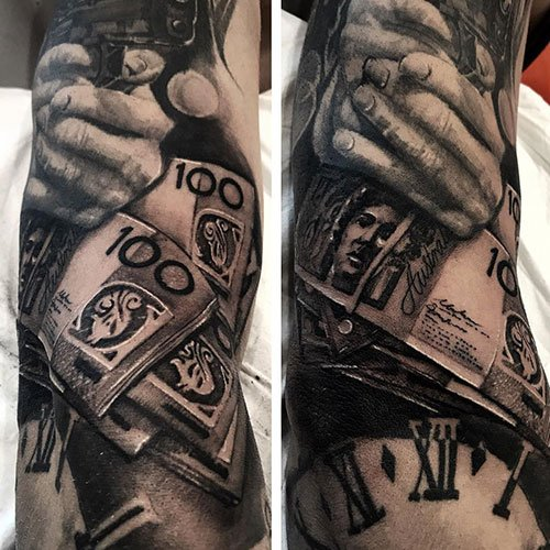 Badass Half Sleeve Money Tattoos