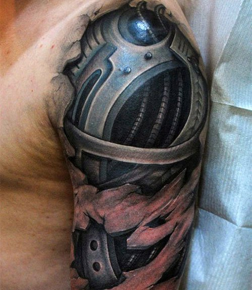 Badass Ripped Skin Half Sleeve Tattoo Designs