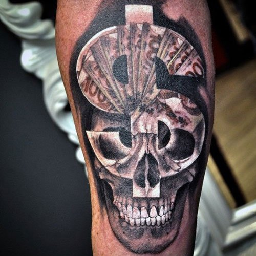 Badass Skull Money Sign Tattoo