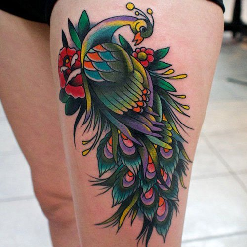 Beautiful Colorful Thigh Tattoo Ideas For Girls