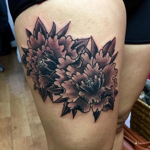Beautiful Peony Thigh Tattoos