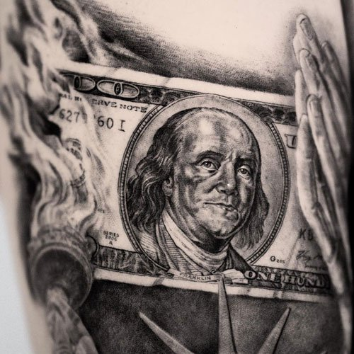 Ben Franklin 100 Dollar Bill Burning Tattoo