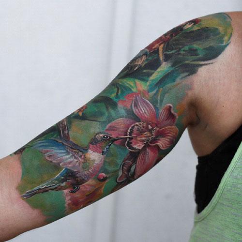 Bird and Flower Tattoo Designs