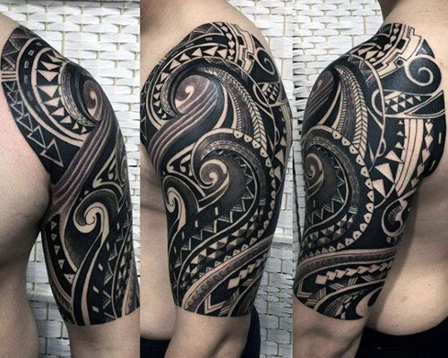 Black Tribal Half Sleeve Tattoo