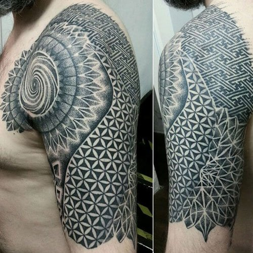 Black and Grey Half Sleeve Tattoos For Men