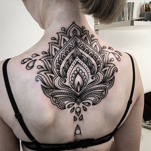 Black and White Lotus Flower Tattoo Designs
