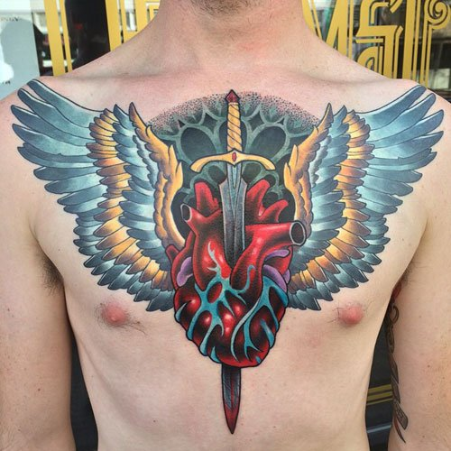 Broken Heart with Wings Tattoo on Chest