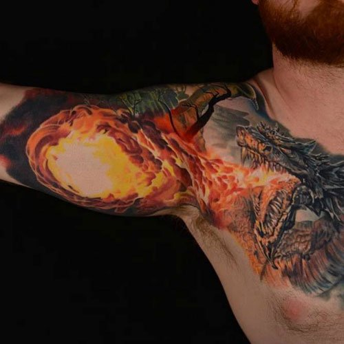 Chest Bicep Tattoo Designs