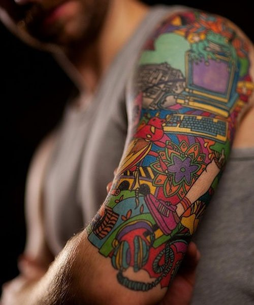 Colorful Half Sleeve Tattoos