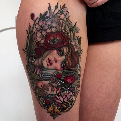 Colorful Thigh Tattoos For Females