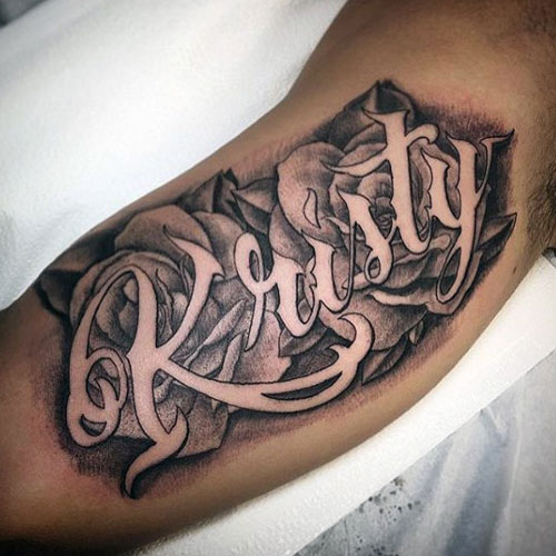 Cool Bicep Name Tattoo Designs