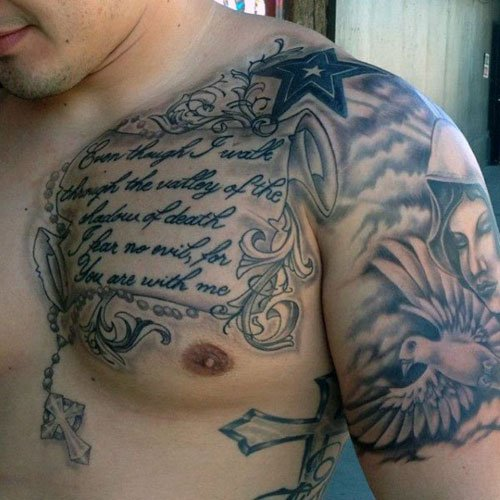 Cool Chest Shoulder Tattoo Designs