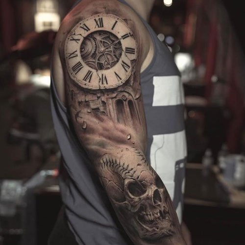 Cool Clock Half Sleeve Tattoo