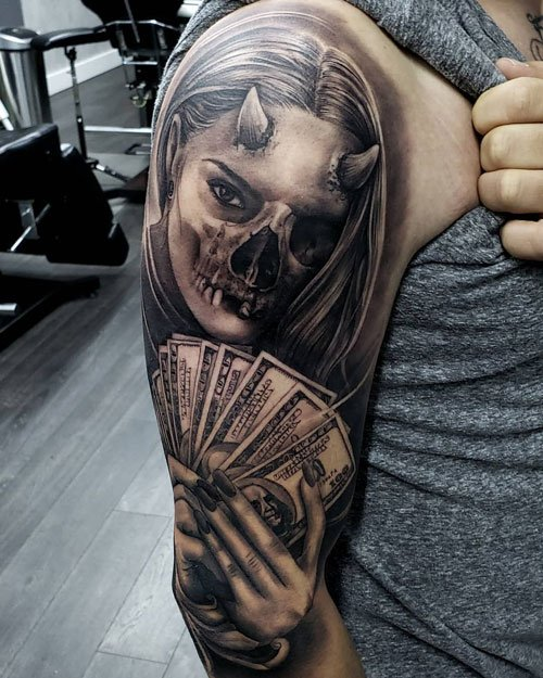 Cool Get Money Tattoo Designs