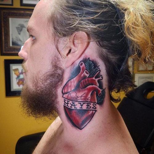 Cool Heart Neck Tattoo