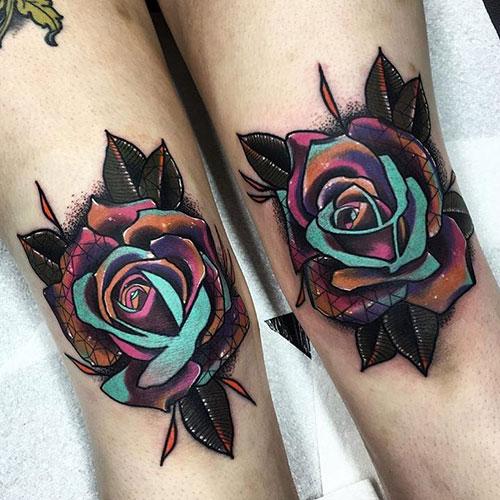 Cute Flower Leg Tattoos For Women