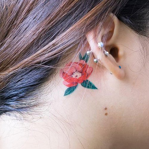 Cute Red Flower Tattoo Designs on Neck
