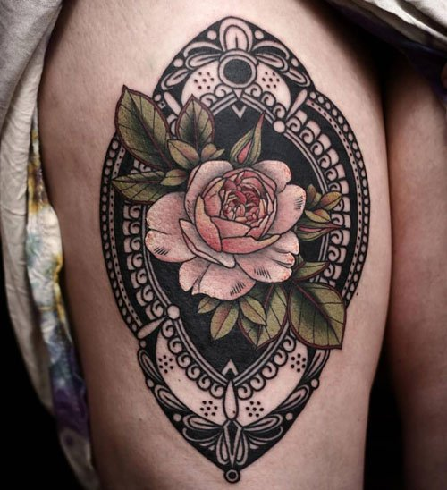 Cute Rose Thigh Tattoo Designs