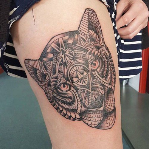 Cute Upper Leg Tattoo Designs For Women