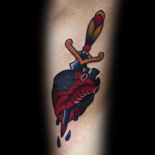 Dagger in Heart Tattoo Designs