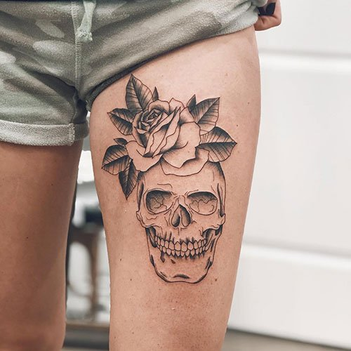 Easy Thigh Skull Tattoos