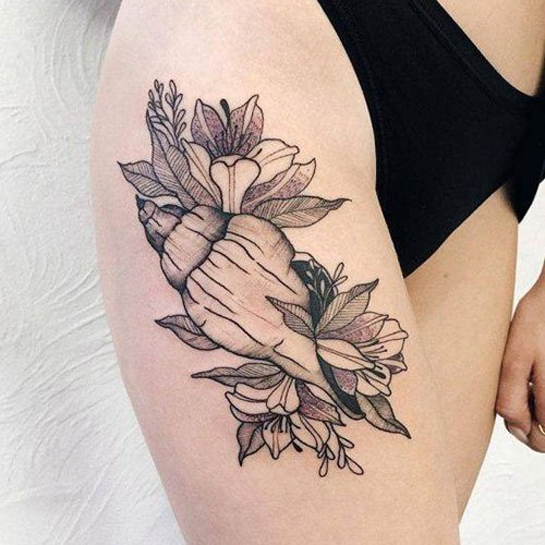 Floral Thigh Tattoos For Females
