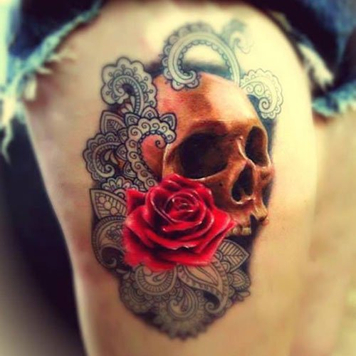 Flower Skull Thigh Tattoo Designs
