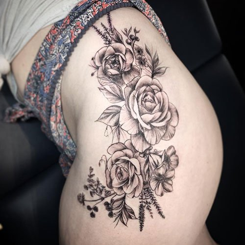 Flower Thigh Tattoo Ideas