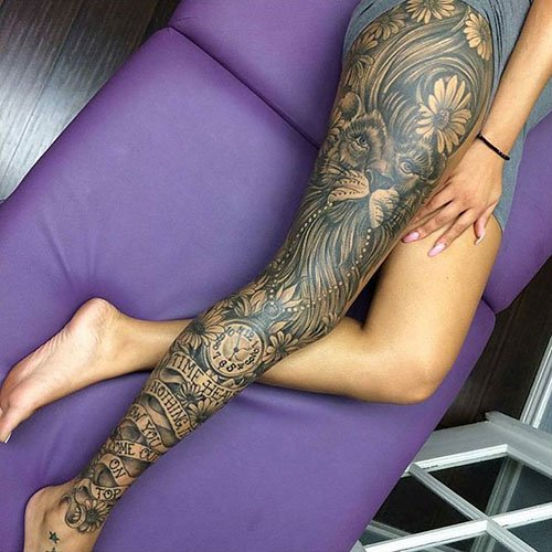 Full Leg Sleeve Tattoo For Girls