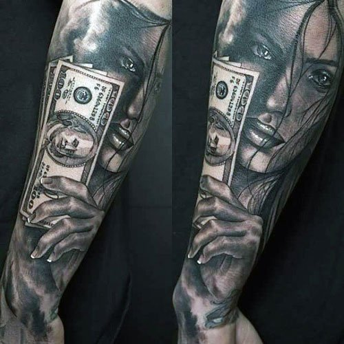Hot Money Sign Tattoo Designs For Men