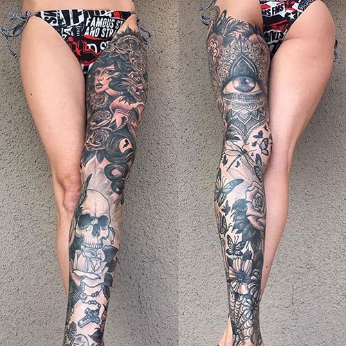 Hot Thigh Tattoos For Girls