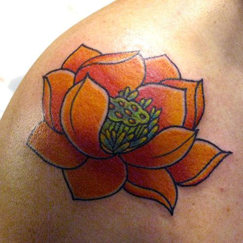 Lotus Flower Shoulder Tattoos