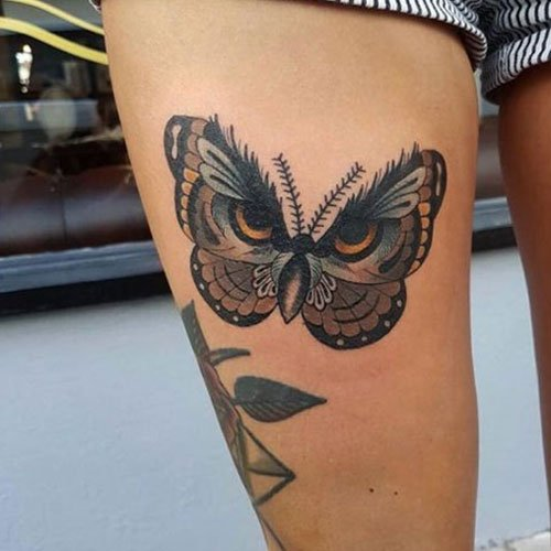 Pretty Butterfly Thigh Tattoo Designs