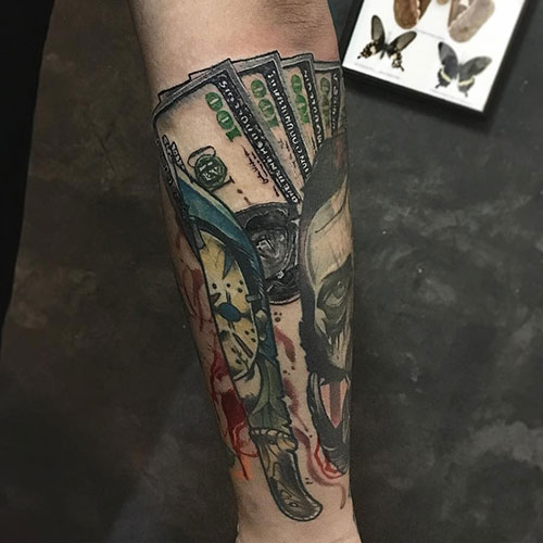 Realistic 3D Money Tattoo Designs