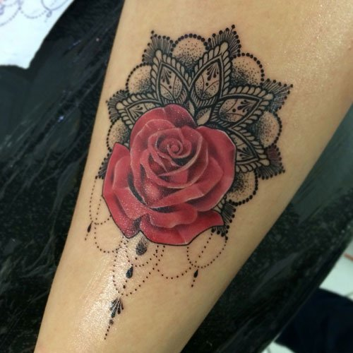 Rose and Lotus Flower Tattoo