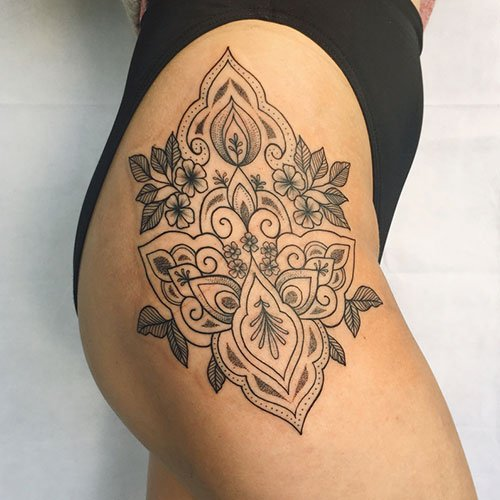 Sexy Mandala Flower Thigh Tattoo Designs