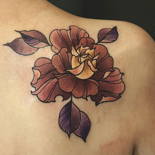 Shoulder Blade Flower Tattoo