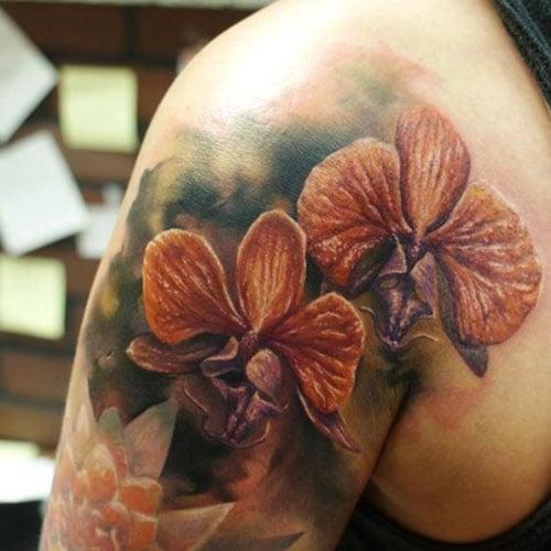 Shoulder Flower Tattoo Designs For Women