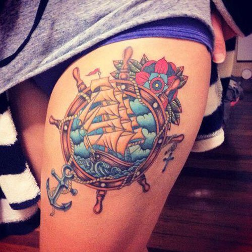 Side Thigh Piece Tattoo Designs
